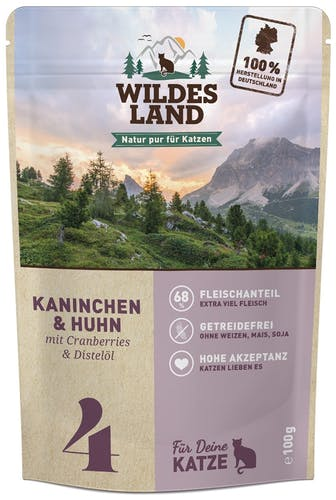 Wildes Land - Nassfutter - Kaninchen und Huhn mit Distelöl (getreidefrei)