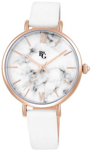 Cette montre B&G se compose d'un Boîtier Rond de 38 mm et d'un bracelet en Cuir Blanc