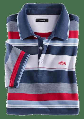Polo mit Blockstreifen in Weiß, Rot und Blau.