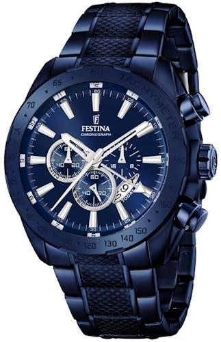 Cette montre FESTINA se compose d'un Boîtier Rond de 44.5 mm et d'un bracelet en Acier Bleu