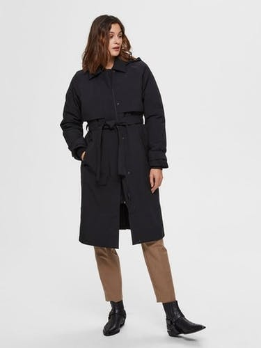 SELECTED FEMME Trenchcoat in schwarz