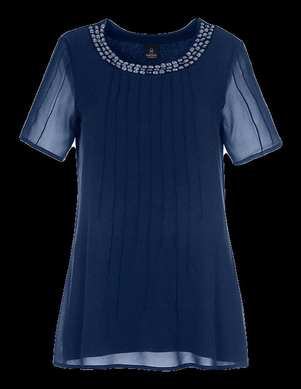 Kurzarm-Shirt mit Seiden-Chiffon und Ziersteinen