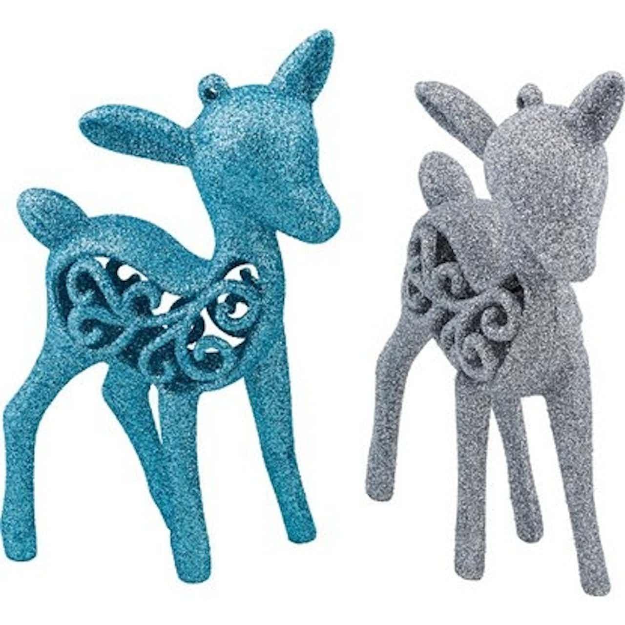 Karácsonyfadísz-készlet rénszarvasok kék/ezüst