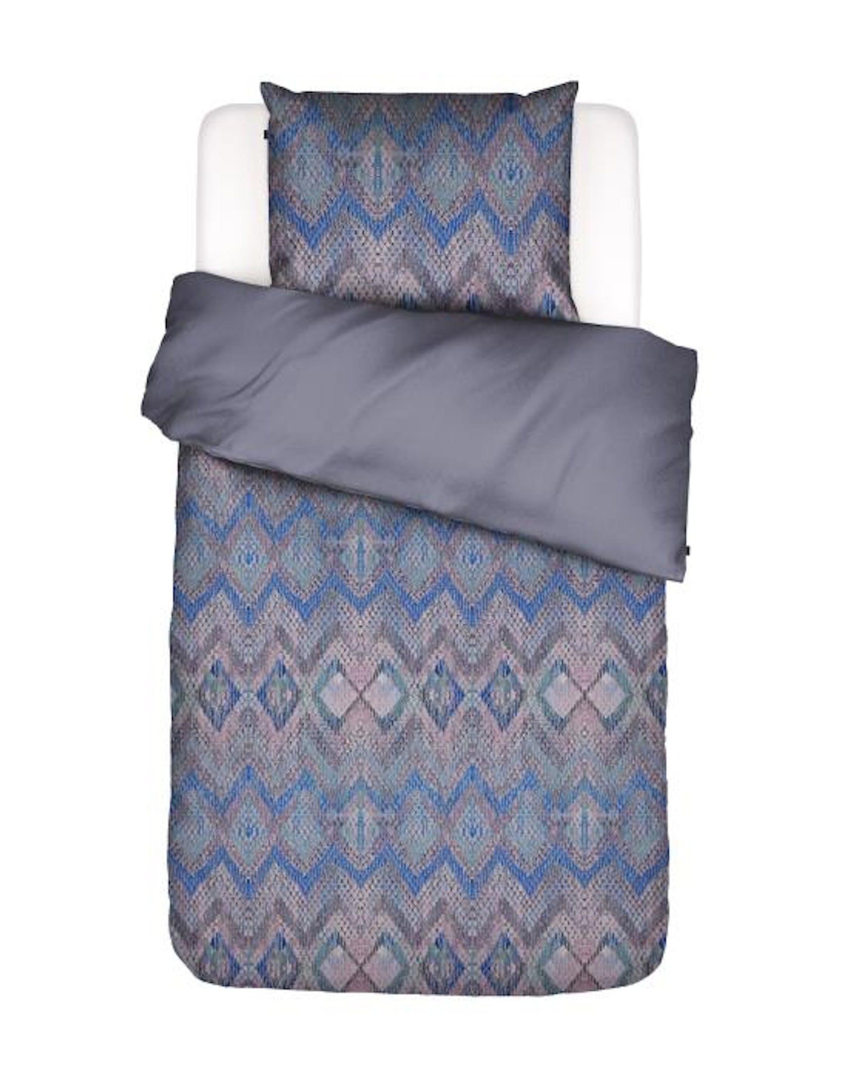 ESSENZA Fabienne Bettwäsche Zickzack Muster Blau Granite