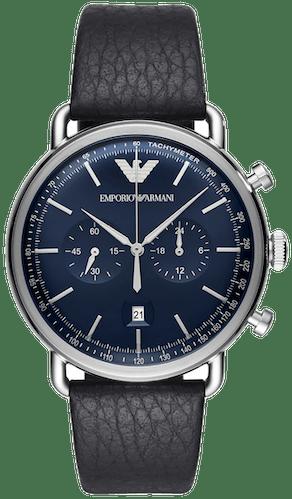 Cette montre EMPORIO ARMANI se compose d'un Boîtier Rond de 43 mm et d'un bracelet en Cuir Bleu