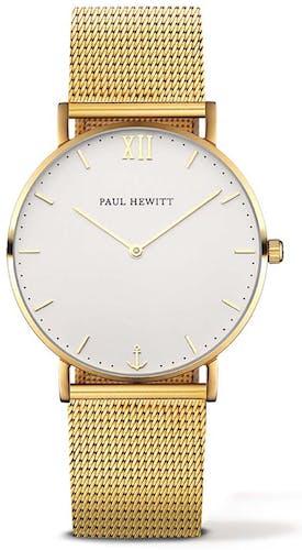 Cette montre PAUL HEWITT se compose d'un Boîtier Rond de 36 mm et d'un bracelet en Acier Jaun