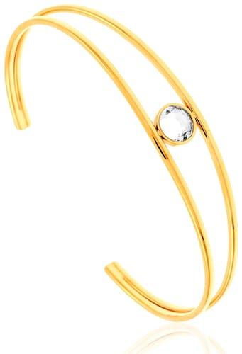 Ce Bracelet MISSISSIPI est en Acier Jaune et Cristal Blanc