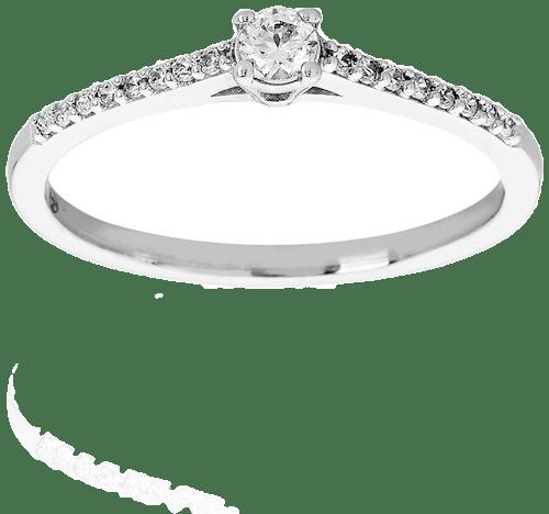 Solitaire PROMESSE en Or 750/1000 Blanc et Diamant Blanc