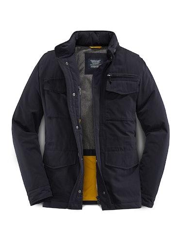 Dunkelblaue Jacke mit vielen Taschen und Innenfutter.