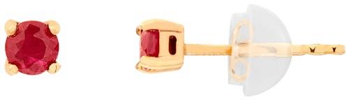 Ces Boucles d'oreilles CLEOR sont en Or 375/1000 Jaune et Rubis Rouge