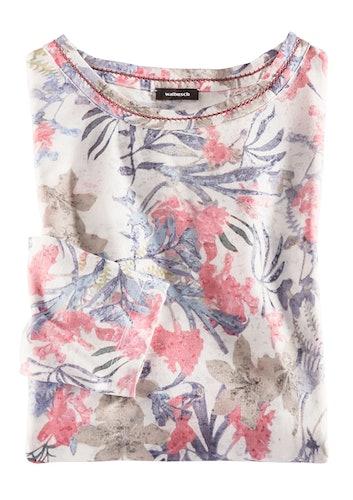 Helles Shirt mit Blumenmuster in blau, pink und beige.