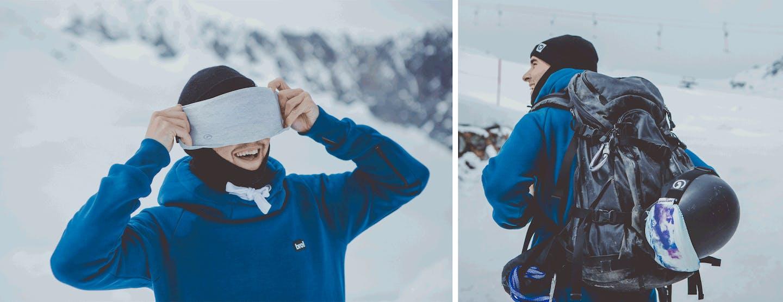 GoggleSoc dient gleichzeitig als Putztuch für die Skibrille