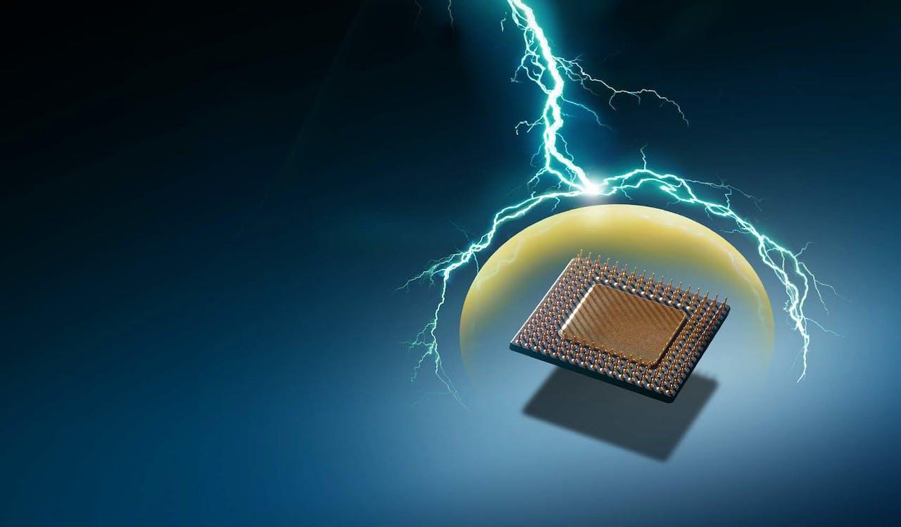 elektronisches Bauteil vor Blitz geschützt, ESD