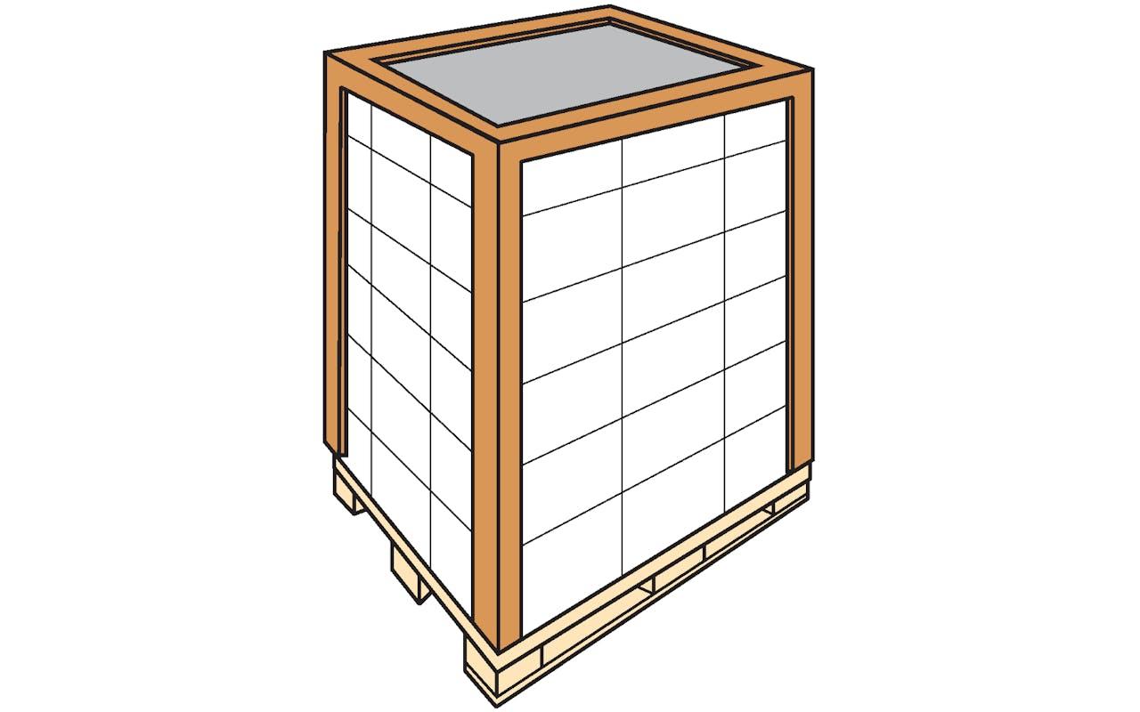 Skizze Kantenschutz Kartons auf Palette