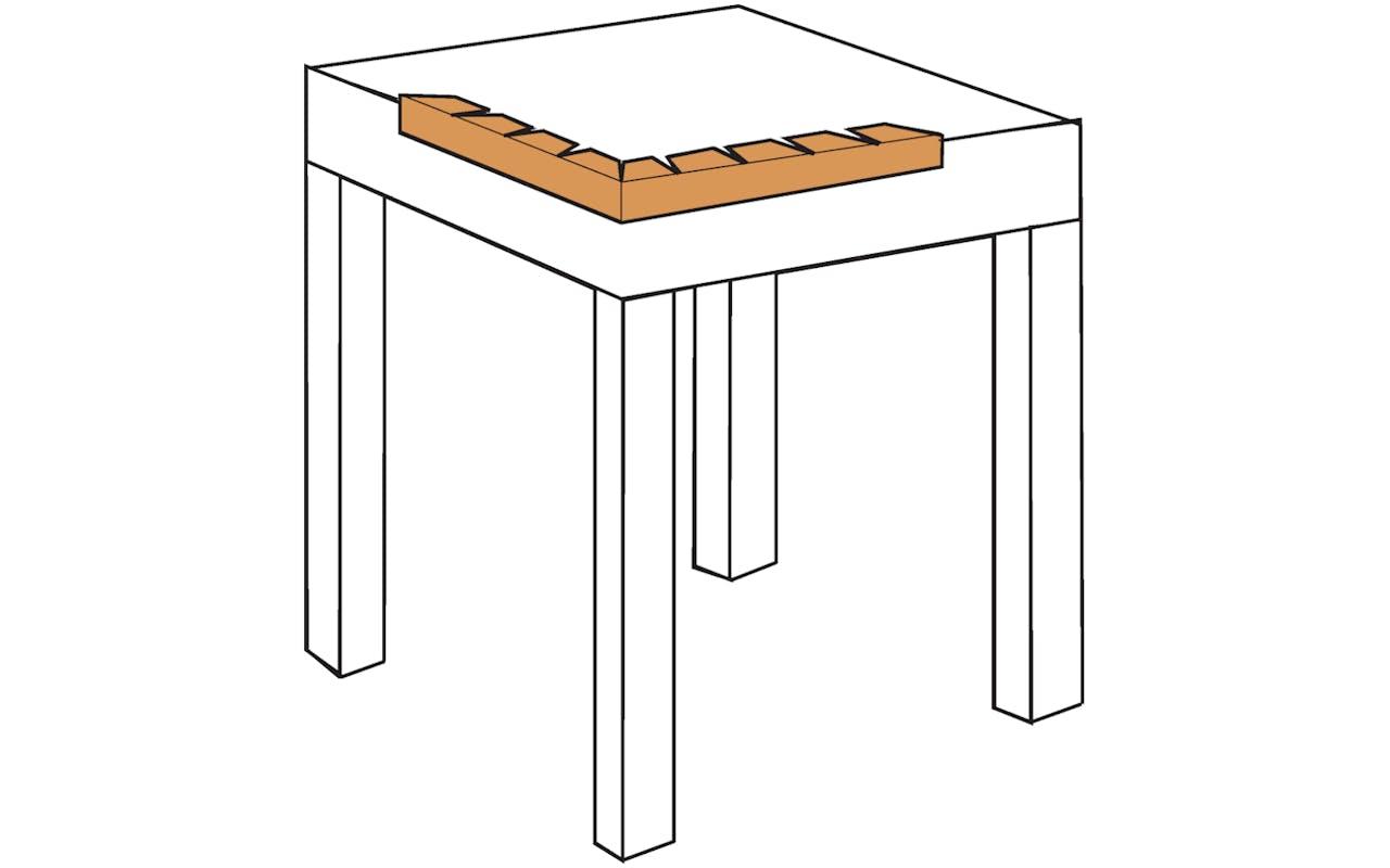 Skizze Kantenschutz Tisch eckig