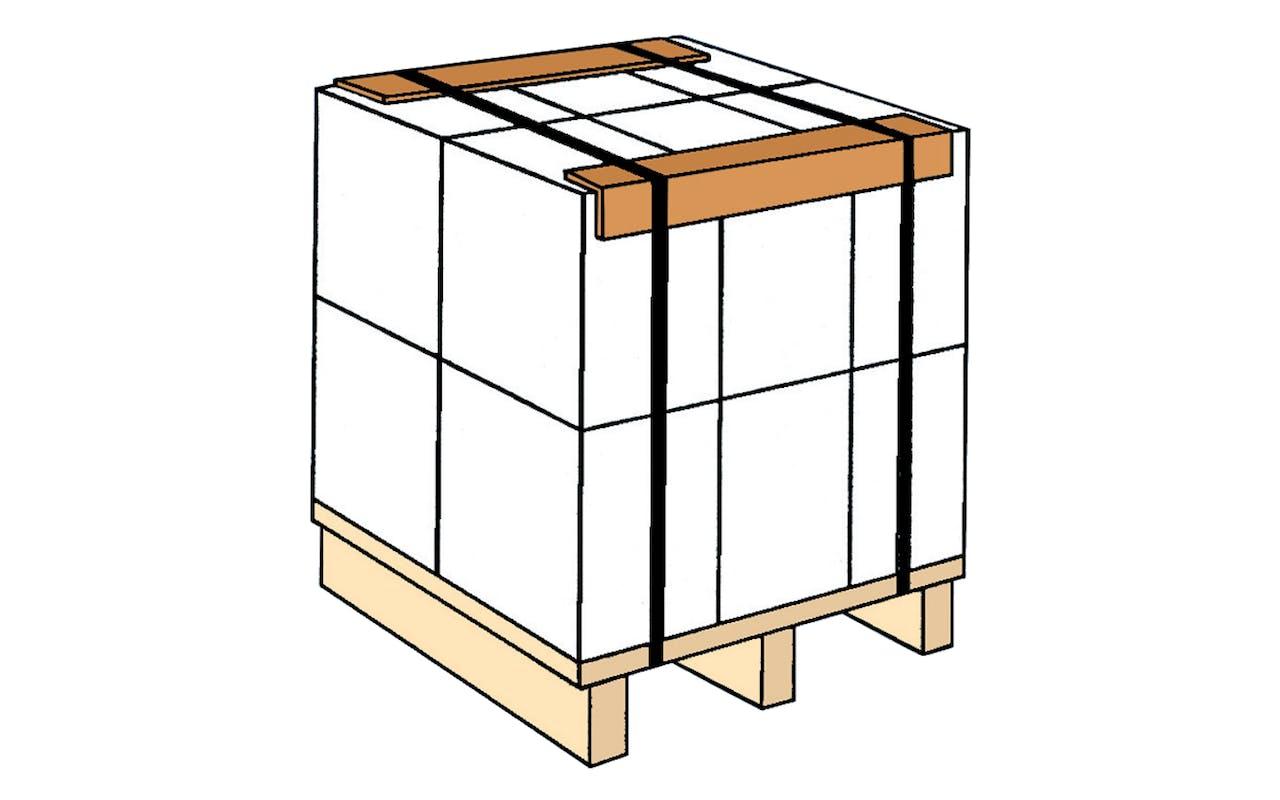 Skizze Kantenschutz Kartons auf Palette mit Umreifung