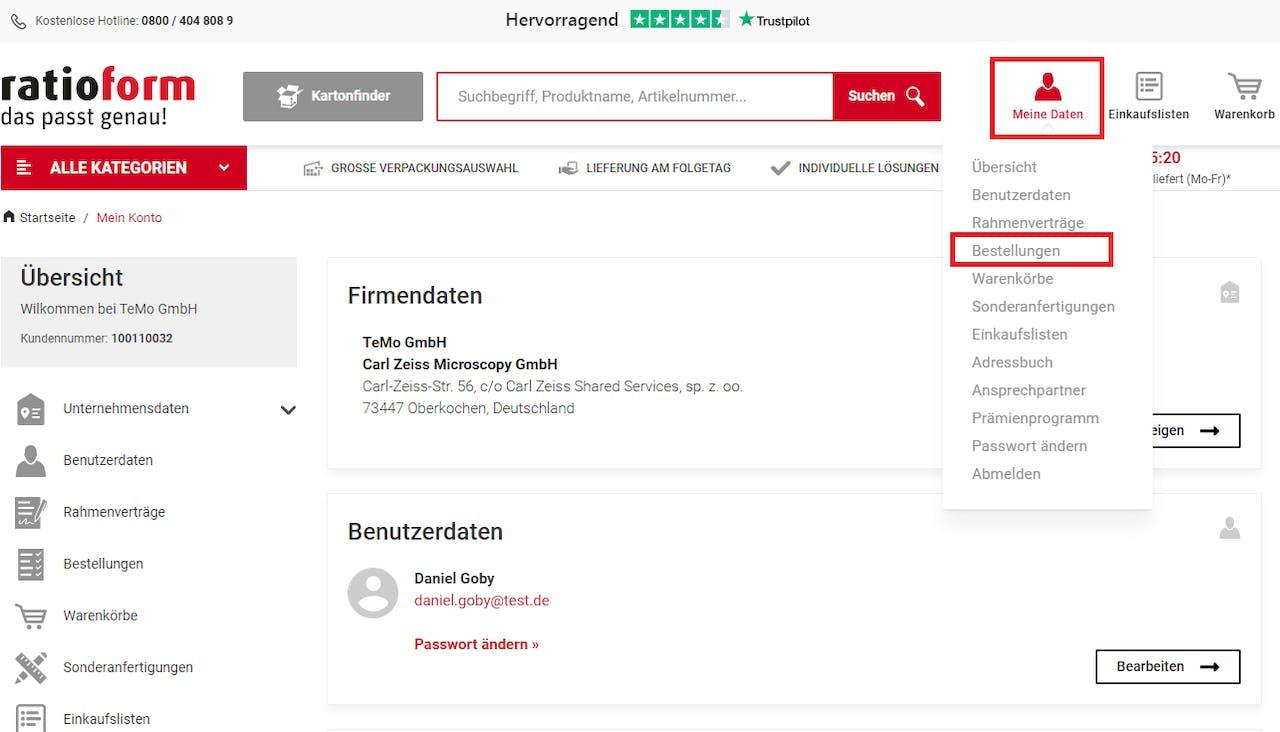 ratioform Webshop Meine Bestellungen