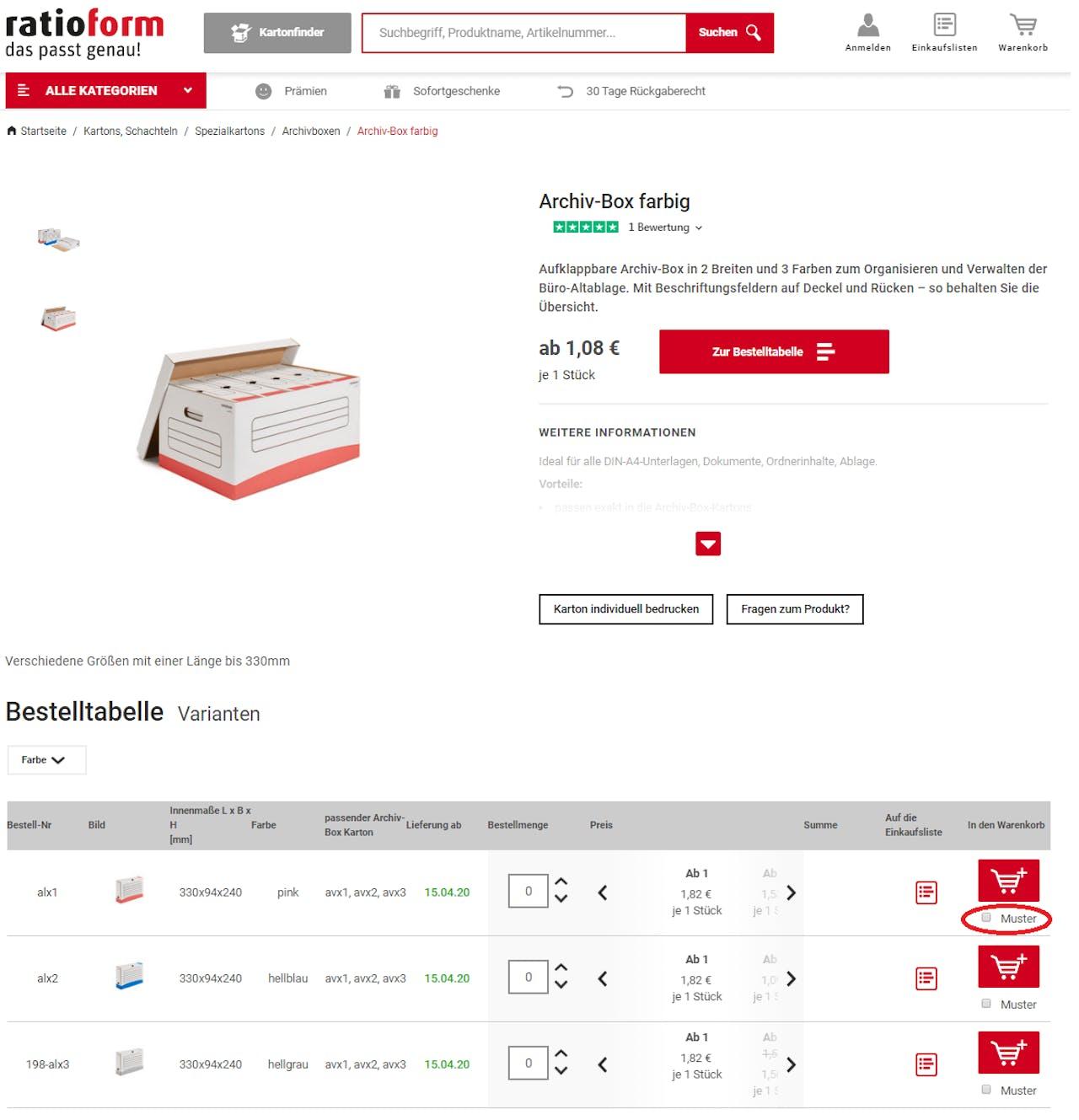 Musterbestellung ratioform Webshop