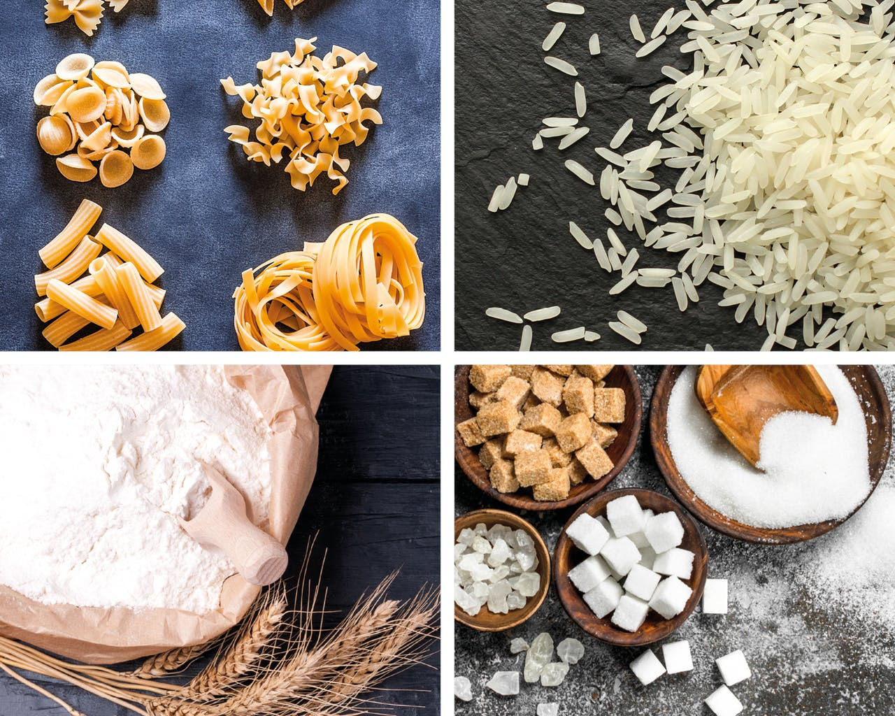Nudeln Mehl Reis Zucker