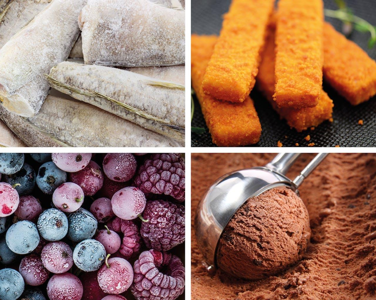 Fischstäbchen, Schokoeis, gefrorene Früchte und Fisch