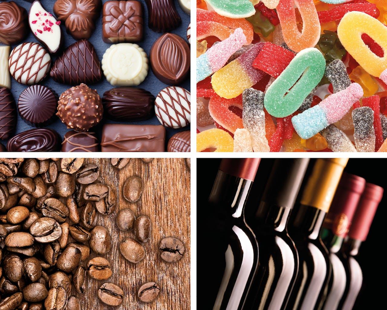 Schokolade, Süßigkeiten, Kaffeebohnen, Wein
