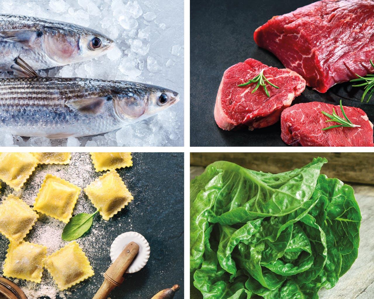 Fleisch, Fisch, Salat, Ravioli