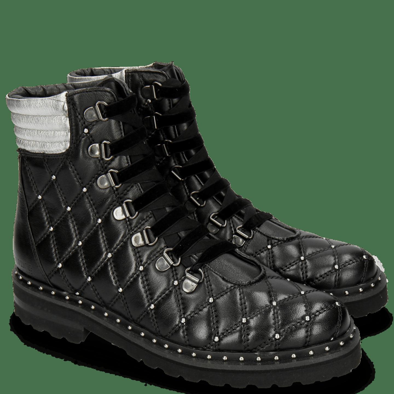 Bonnie 17 Nappa Black Talca Silver Rivets