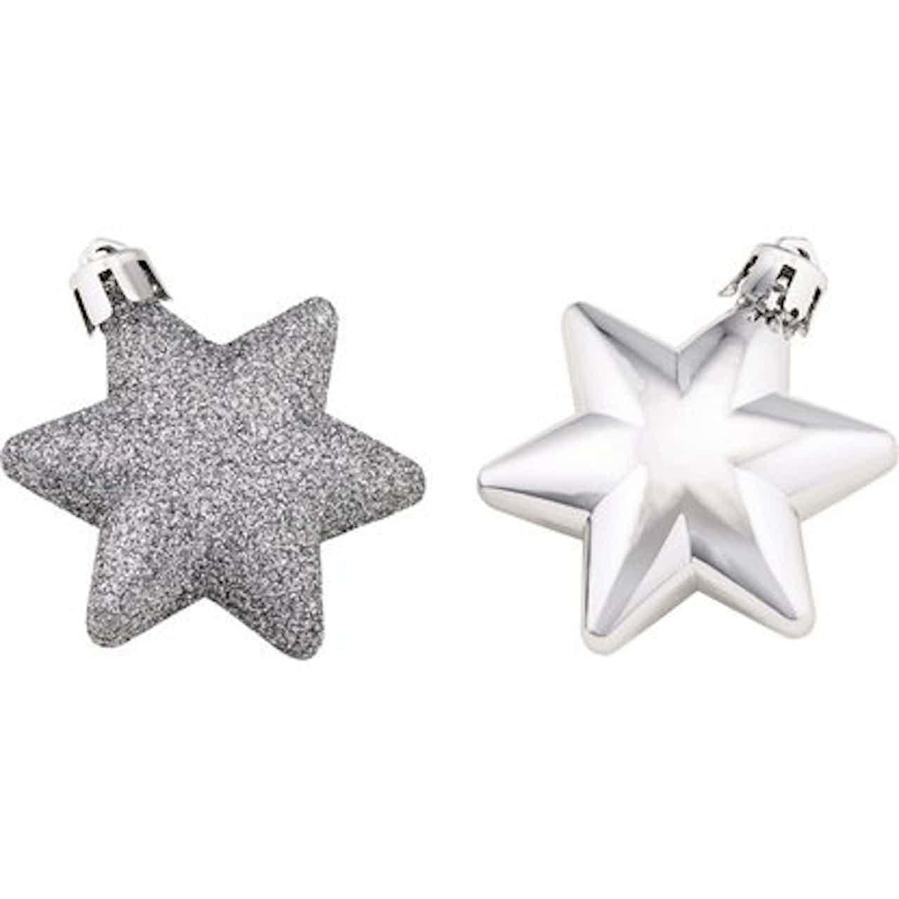 Sada ozdob na vánoční stromek hvězdy 12dílná stříbrná