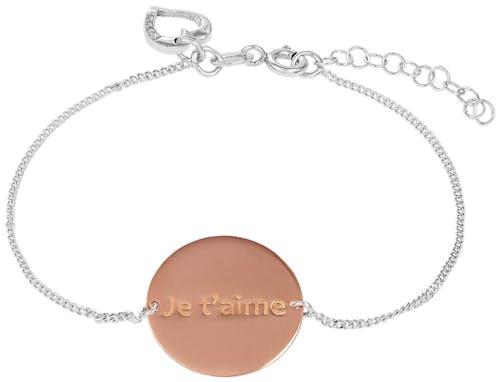 """Ce Bracelet CLEOR est en Argent 925/1000 Bicolore avec inscription """"Je t'aime"""" et signe Cœur"""