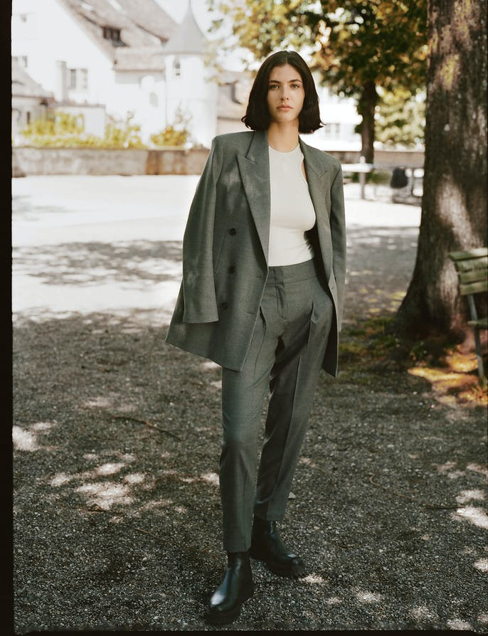 Damen Blazer Hose in Grau