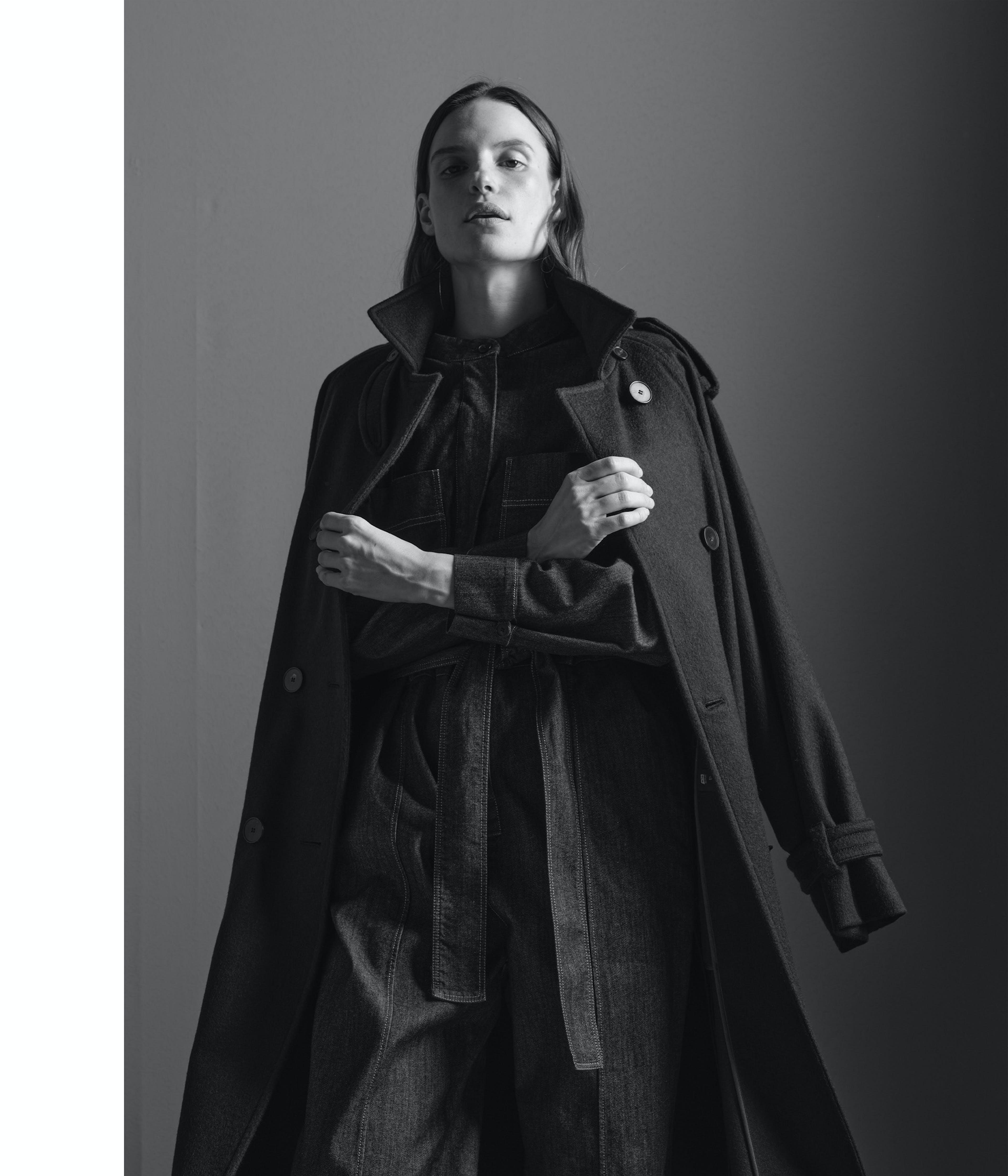Schwarz Weiss Damen Mantel