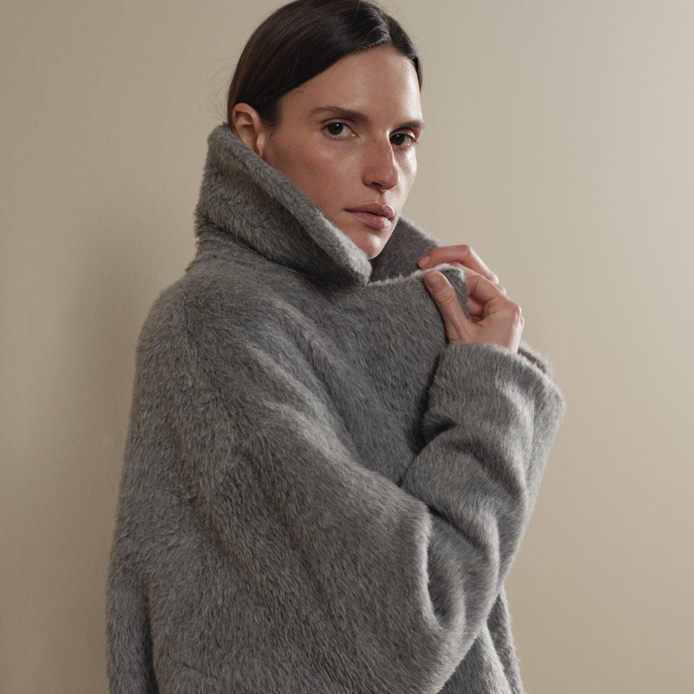 Damen Mantel grau