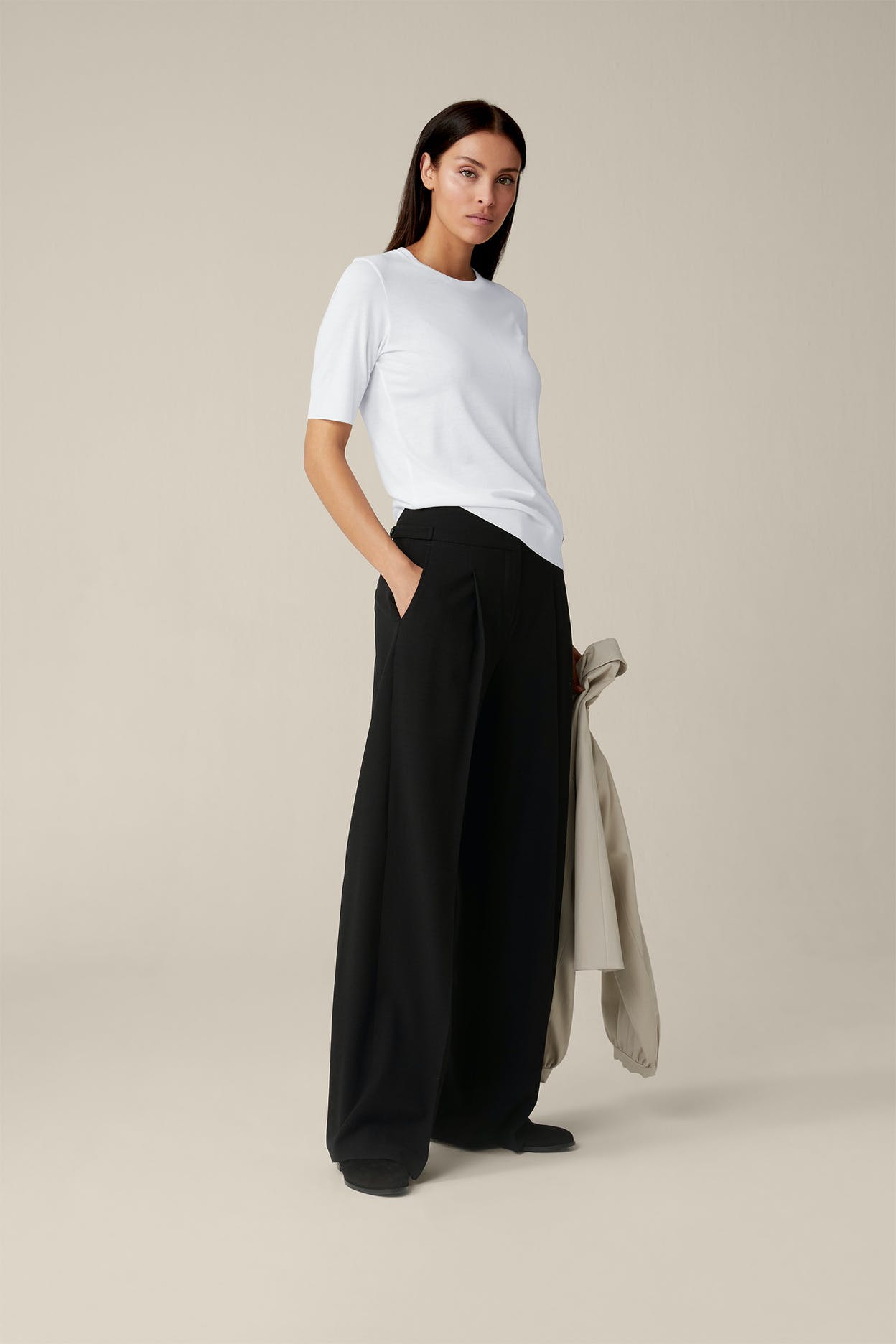 Tencel-Baumwoll-Shirt in Weiss