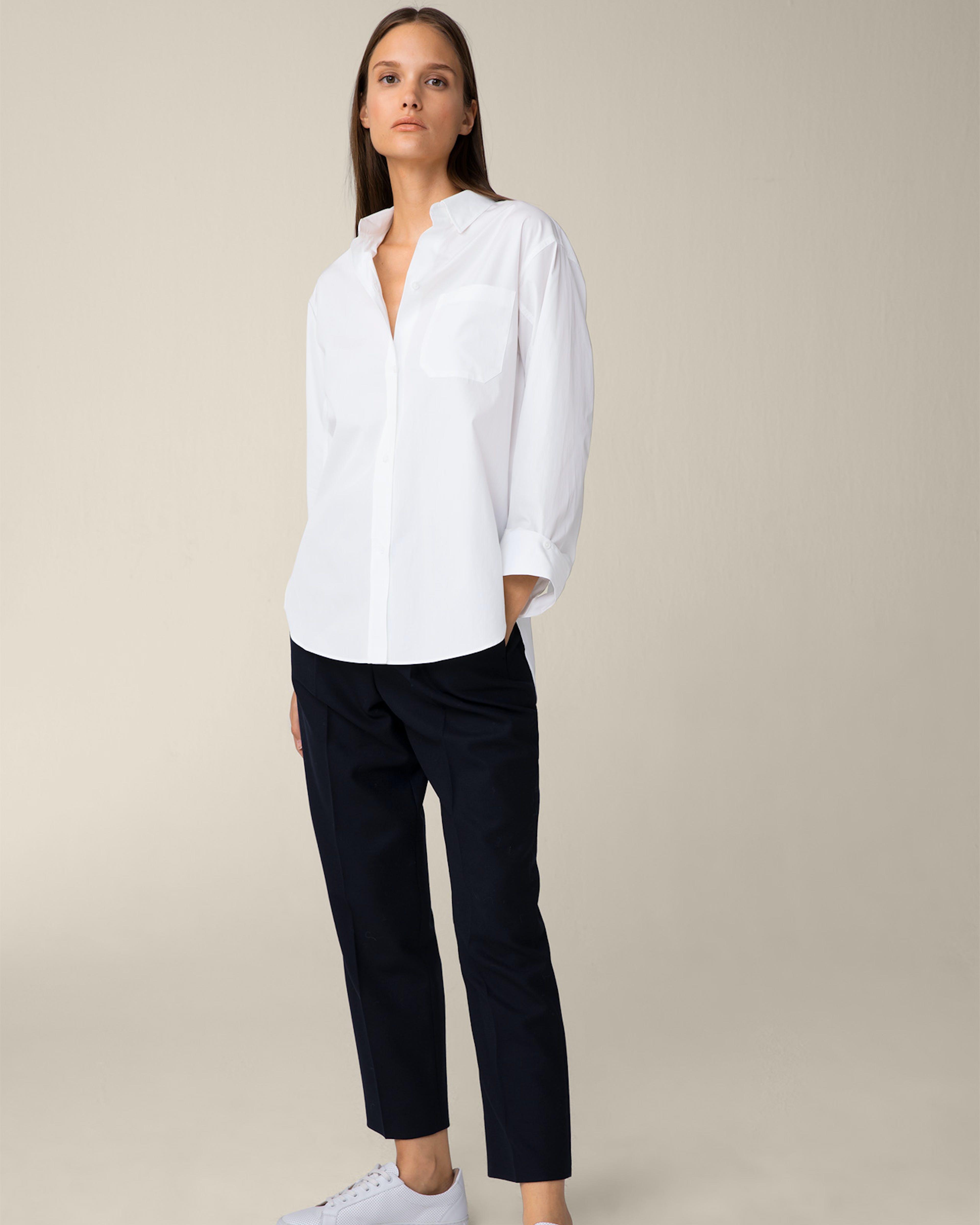 Popeline-Longbluse mit Hemdkragen in Weiß