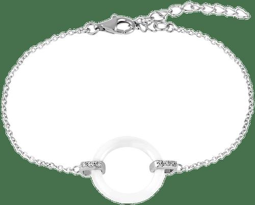 Bracelet CLEOR Argent 925/1000 Céramique Blanc