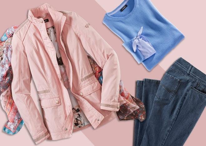 Blauer Pulli, rosa Jacke, buntes Tuch und dunkelblaue Jeans liegen auf einem pinken Untergrund.