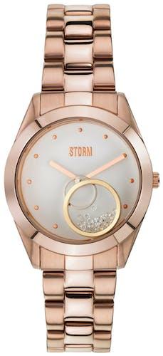 Cette montre STORM se compose d'un Boîtier Rond de 37 mm et d'un bracelet en Acier Rose