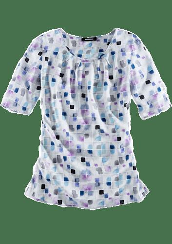 Weiße Bluse mit kurzen Ärmeln und einem Muster aus lila und blauen Quadraten.