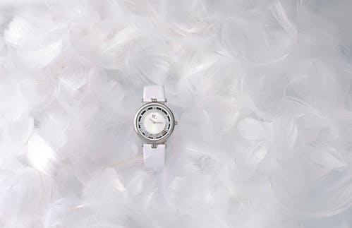 Montre B&G Femme, Boitier Rond, Bracelet Cuir Blanc