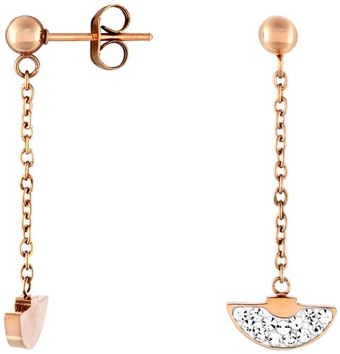 Ces Boucles d'oreilles ALISON sont en Acier Rose et Cristal Blanc