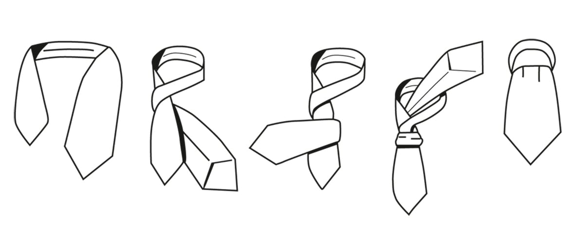 Zeichnung, wie man einen Krawattenschal bindet