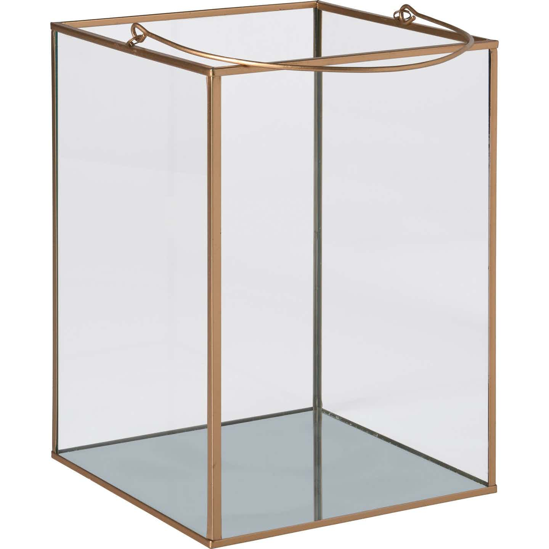 Glas-Laterne Safari Lodge 22 cm x 17 cm x 17 cm Gold-Rahmen