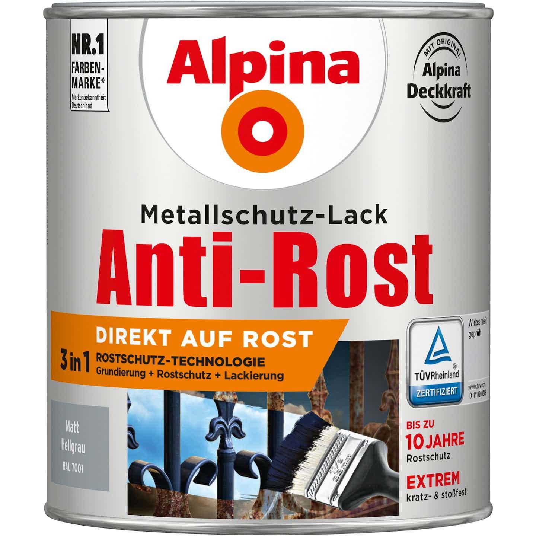 Alpina Metallschutz-Lack Anti-Rost Hellgrau matt 750 ml