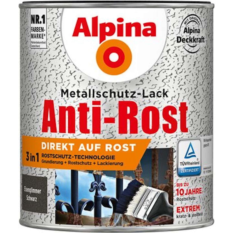Alpina Metallschutz-Lack Anti-Rost Schwarz Eisenglimmer 750 ml