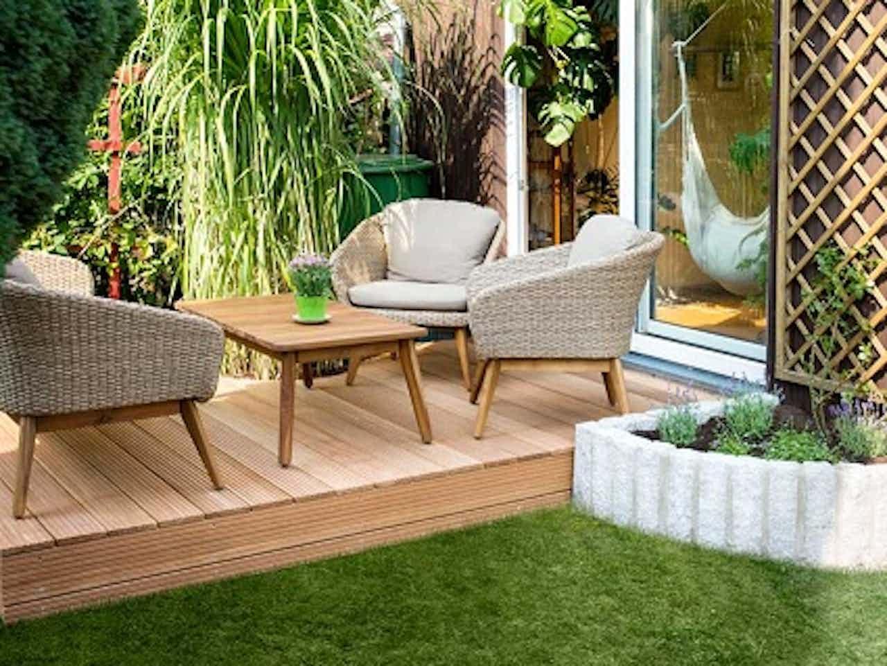 Nachher: So sieht der Garten am Ende mit der neuen Terrasse aus