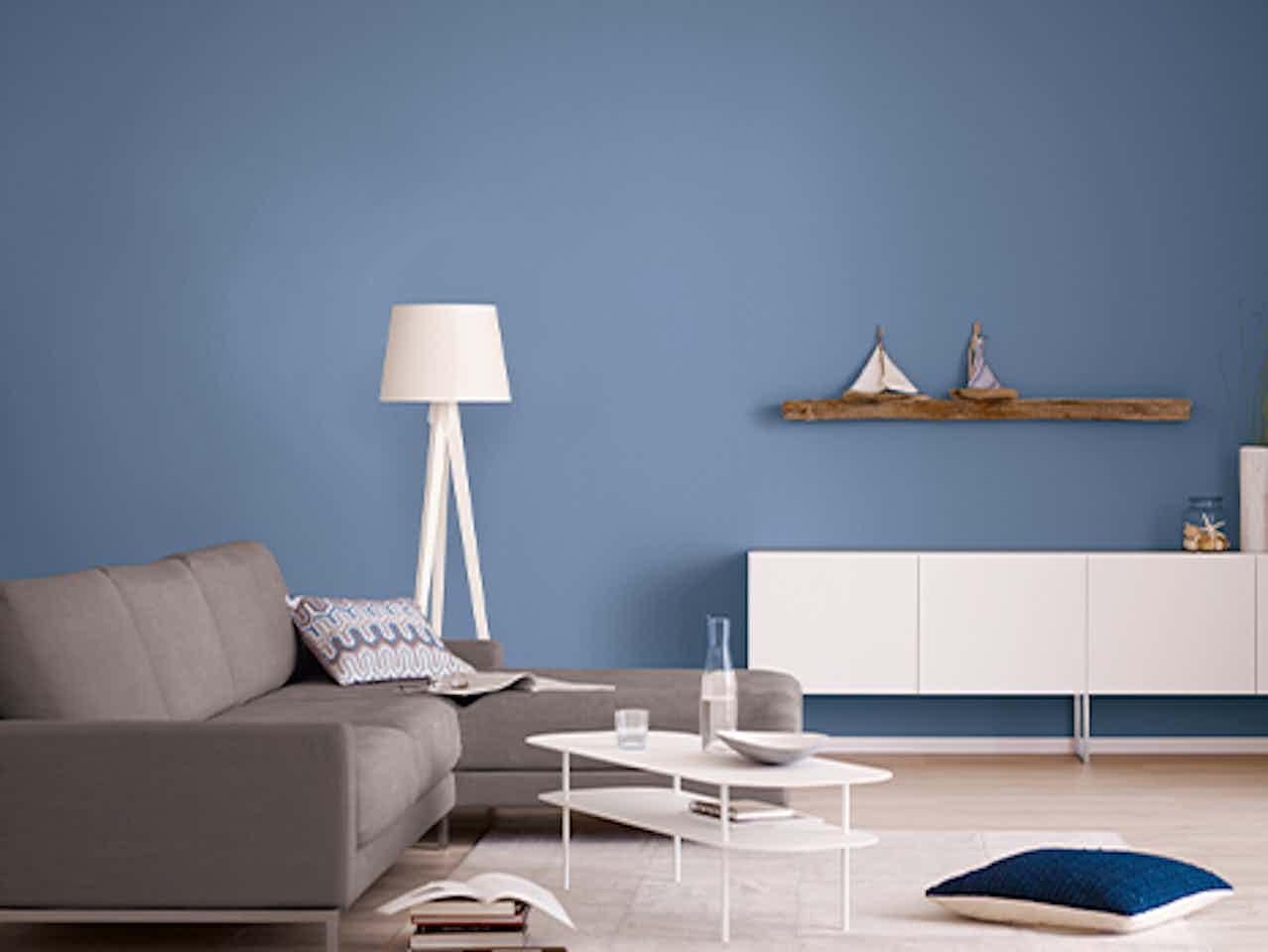 Alpina Farbrezepte, blaue Wandfarbe für innen