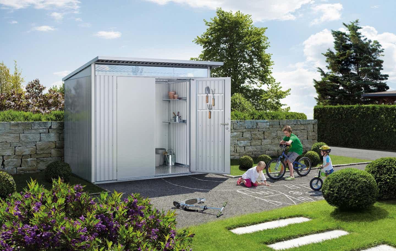 Biohort Gerätehaus im Garten silber