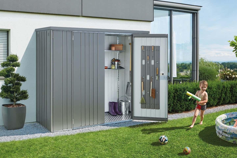Biohort Gartenbox für die Hauswand silber
