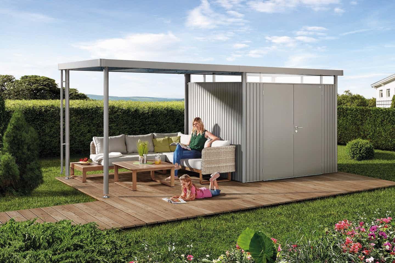 Biohort Gartenhaus silber mit Dach
