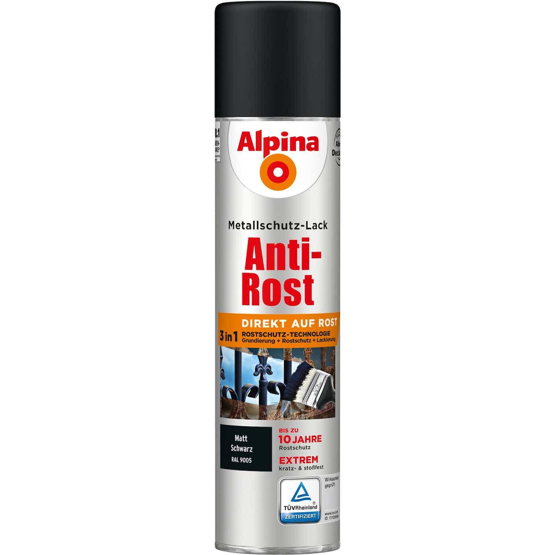 Alpina Metallschutz-Lack Anti-Rost Spray Schwarz matt 400 ml